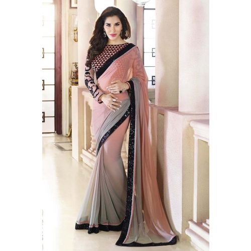 Designer peach and grey padding georgette fancy Saree