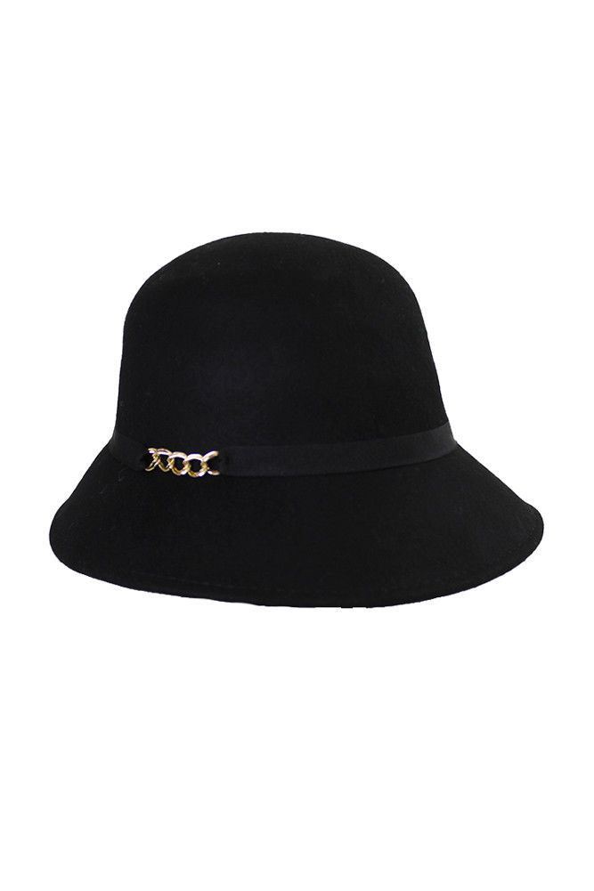 August Hat Black Ribbon And Chain Felt Cloche Os