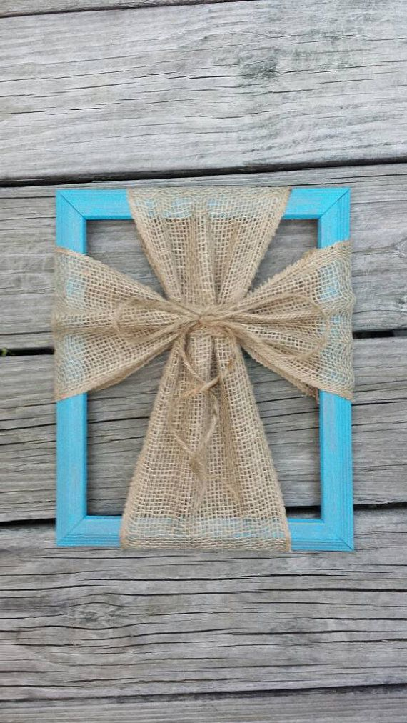 Burlap Cross Picture Frame by HangitontheDOOR on Etsy