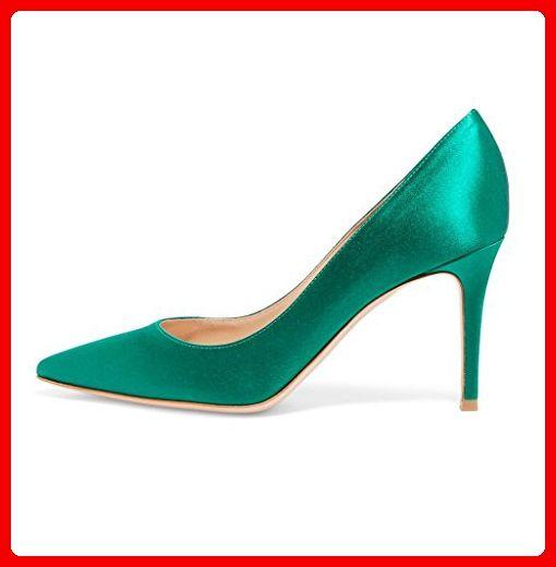 Kolnoo Damenschuhe Satin Pumps Stiletto Spike Heel Slip On Hochzeit Brautkleid Schuhe Blau Größe EU45 - Damen pumps (*Partner-Link)