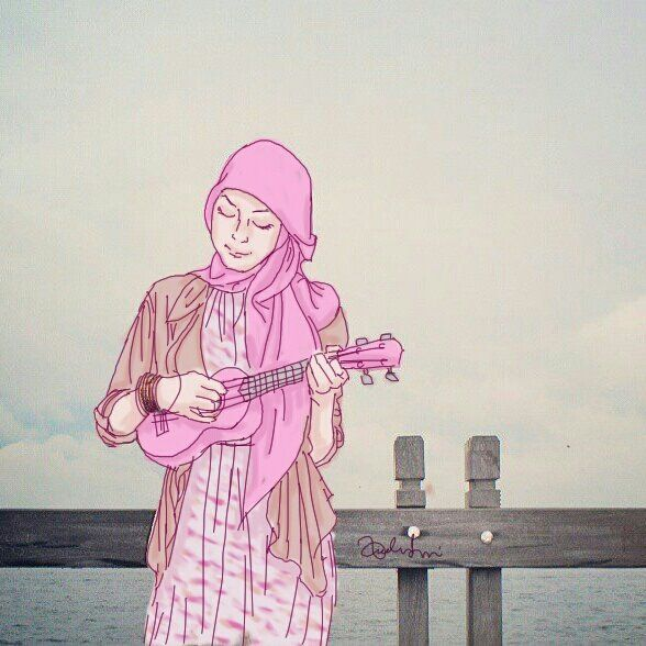 Self Illustration - Me Playing a Pink Ukulele at The Beach     A Woman in Hijab    Visit my artworks profile https://www.behance.net/andinairvani