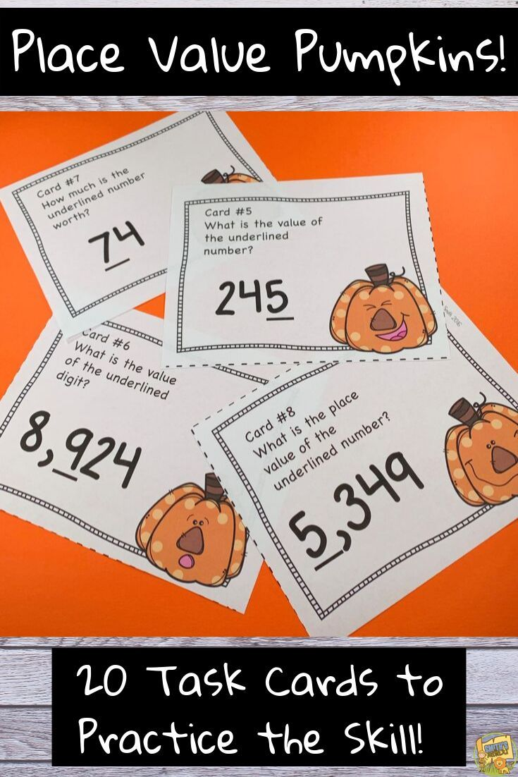 Place Value To The Thousands Place Task Cards Scoot Pumpkin Halloween Themed Task Cards Math Math Activities [ 1102 x 735 Pixel ]