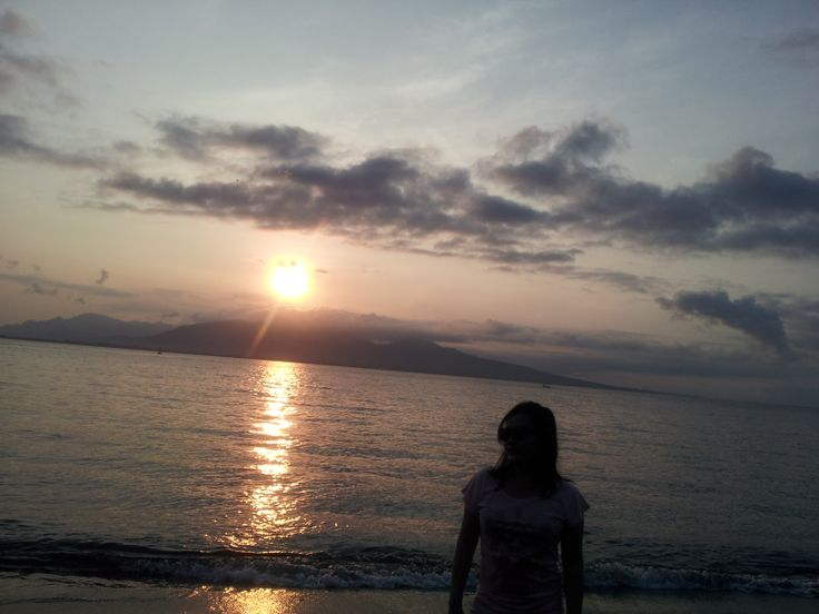 sunrise in bali strait banyuwangi, east java, indonesia taken from Hotel ketapang Indah bnayuwangi.
