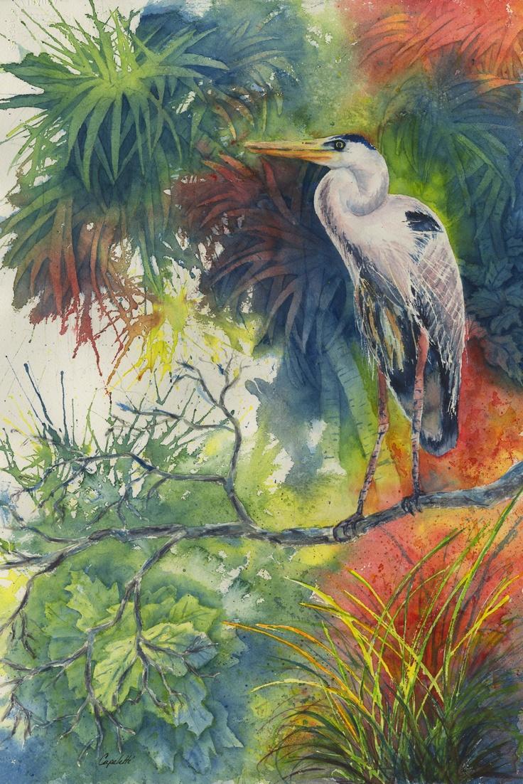 Fine watercolor art for sale - Tropical Blue Heron Watercolor Painting Original Watercolor Painting By Barb Capeletti Www