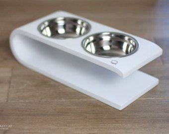 Cat bowl modern pet feeder pet bowls cat dish by lazycatfurniture