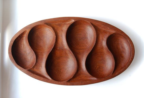 Hand Carved Wood Tray / Midcentury Serving Dish / by nomadhouse, $41.00
