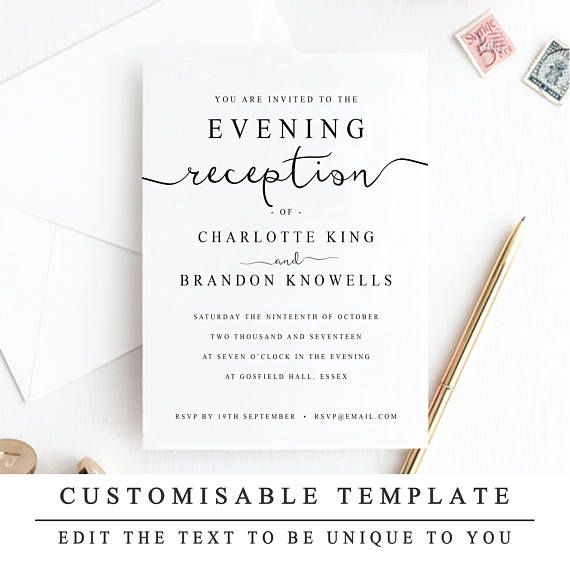 Print At Home Evening Reception Wedding Invitation Template Etsy Wedding Reception Invitations Reception Invitations Diy Wedding Invitations Templates