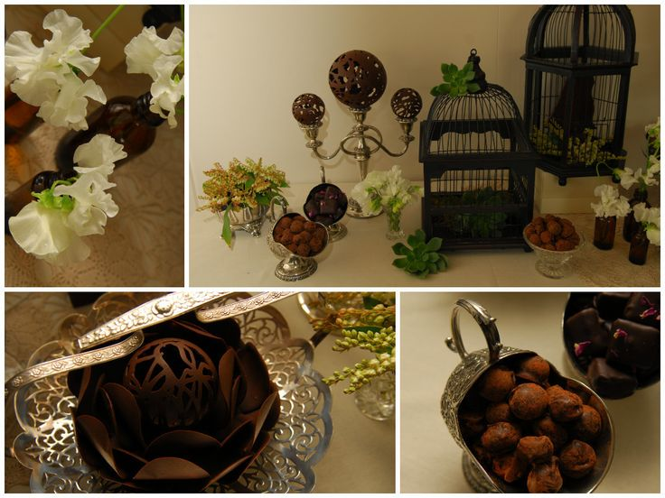 Wedding Dessert Bar vintage props and fine chocolate