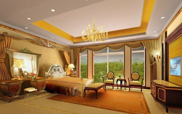 Luxurious Villa Qatar gorgeous marble columns, gold chandelier bedroom