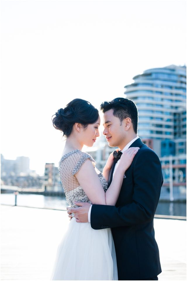 Classy engagement session with the bride to be wearing Collette Dinnigan bridal gown // Melbourne Wedding photography by Finessence // www.finessence.com.au