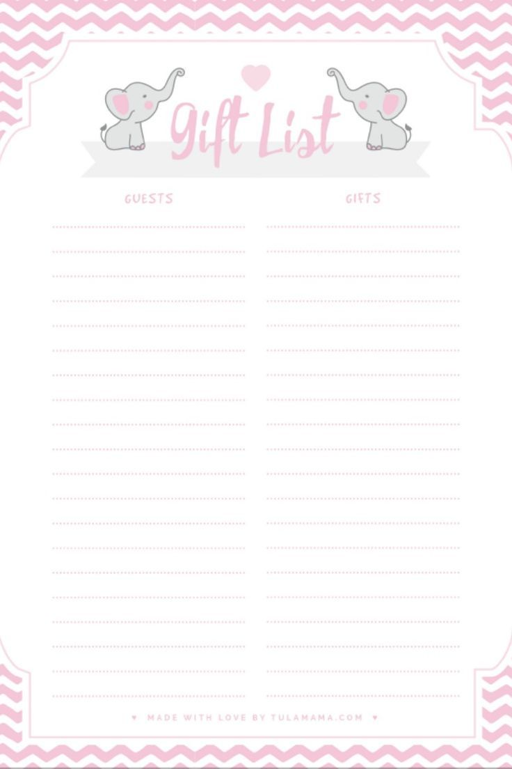 Free Printable Gift Tracker For Any Occasion Free Baby Shower Printables Baby Shower Gift List Gift Tracker Baby shower guest list template