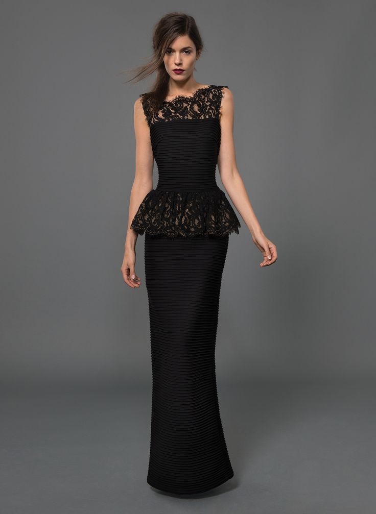 Pintuck Jersey and Lace Peplum Gown with Sheer Lace Detail in Black/Nude | Tadashi Shoji