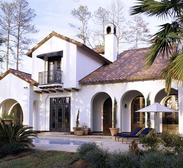 Mediterranean-Style Stucco - 'crisp white stucco'  - love that look