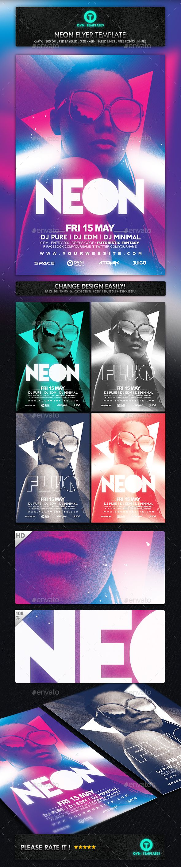 Neon Light Electro Girl Flyer Template PSD #design Download…