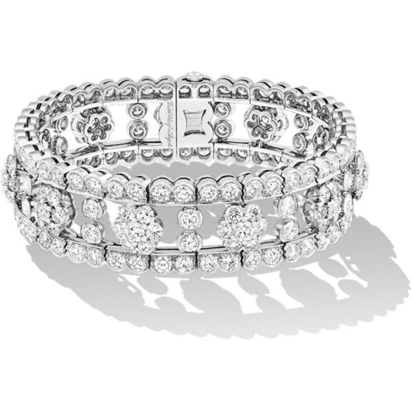 Snowflake bracelet ($13,000) ❤ liked on Polyvore featuring jewelry, bracelets, snowflake jewelry, diamond jewelry, diamond snowflake jewelry, diamond jewellery and diamond bangles