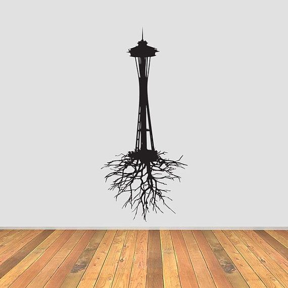 Seattle Space Needle with Roots vinyl wall decal.... Would make an awesome tattoo!!
