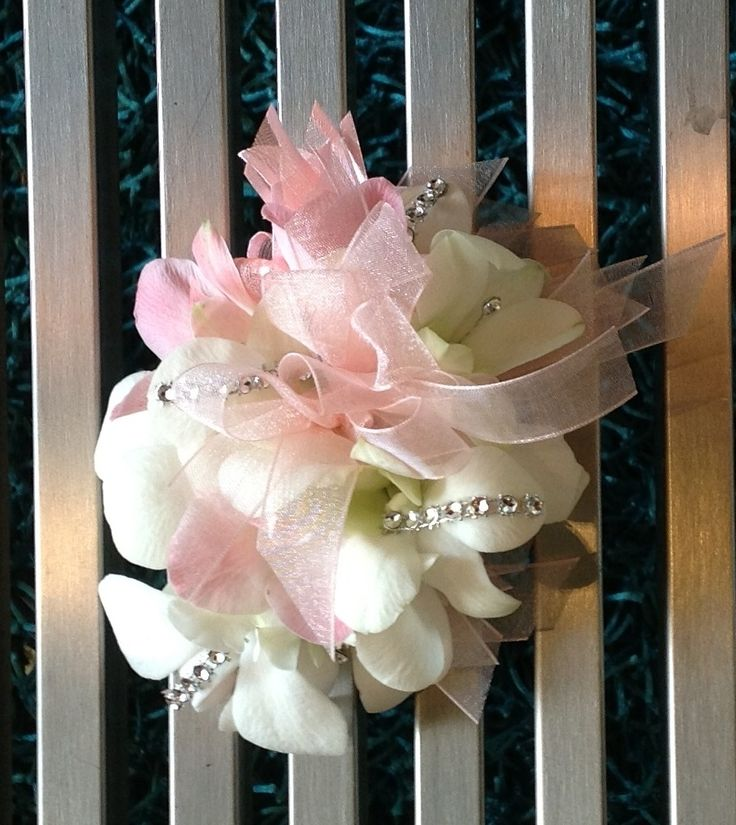 White and Pink Dendrobium Orchids Corsage.  Terra Flowers Miami. Perfect for Weddings, Proms or Graduations. Please visit www.TerraFlowersMiami.com for ordering details.