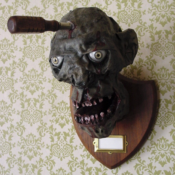 Zombie taxidermy head