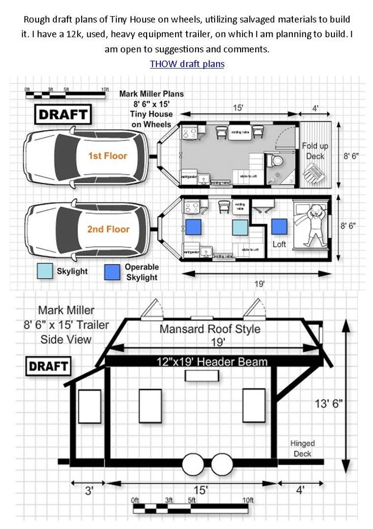 Tiny house on wheels floor plans 1st and 2nd floor