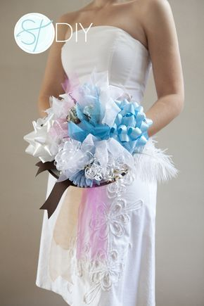 Learn how to DIY a bridal shower ribbon bouquet from all your bridal shower gifts to use on your wedding rehearsal!!
