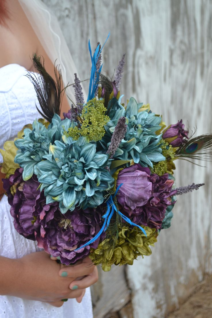 My Day Bouquet - Stunning Peacock Bridal Bouquet; Plum, Teal, and Olive Peonies & Dahlias, Peacock Feathers and Peony & Dahlia Buds!!!