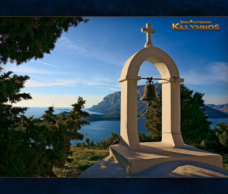 Άγιος Γιάννης στις Μυρτιές με φόντο την Τέλενδο - Saint John's chappel, looking over at the beautiful island of Telendos