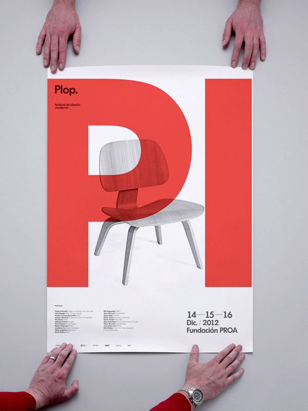 Plop. Posters - Graphic Design - Promotional, Modernism, Swiss Style, Red, White, Black, Typography