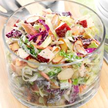 Need a quick side dish for a crowd? Try our Cabbage, Apple & Almond Slaw. Crisp apples and crunchy almonds add an extra dimension to an everyday favorite! #thinkfisher #almonds #spring