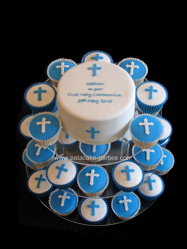 "First Holy Communion Cupcake Tower - 3 dozen cupcakes in blue and white for a first holy communion.  6"" top cake."