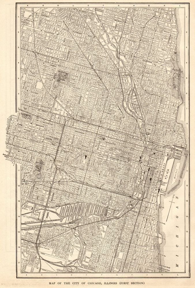 1917 Antique Chicago Illinois Map Vintage City Map Of Chicago Print