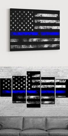 The perfect gift for any Law enforcement officer or anyone that supports the Thin Blue Line! Beautiful five piece canvas sure to liven up empty wall space.