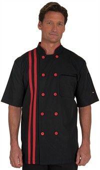 Men's Vertical Stripes Chef Coat - Plastic Buttons - 65/35 Poly/Cotton Poplin