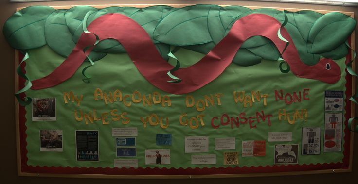 Consent themed bulletin board, Consent, safe sex, sexual assault, RA Resident Assistant, Student Affairs, Honors, RHA, Illinois State University, ISU, Anaconda, Nikki Minaj