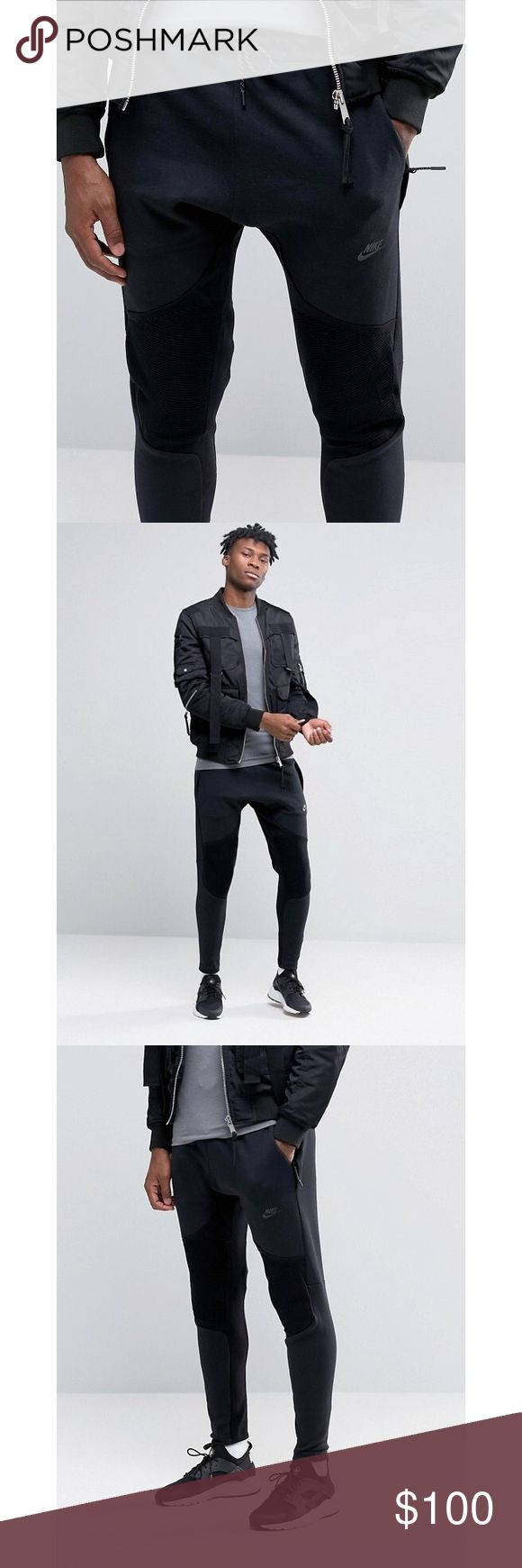 Nike Tech Fleece + Tech Knit Panel Joggers •Mens tech fleece joggers with tech knit panels from Nike. Elastic and drawstring at waist. Two pockets at each side and one extra pocket at right side, with zipper closure. Printed logo at left side. 66% Cotton 34% Polyester.  •Men's size Medium, true to size.  •New with tag.  •No trades, no holds. Nike Pants Sweatpants & Joggers