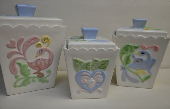 Vintage Hand Painted 1950's Whimsical Shabby Cottage Cannisters by MosaicChinaCabinet $69.00