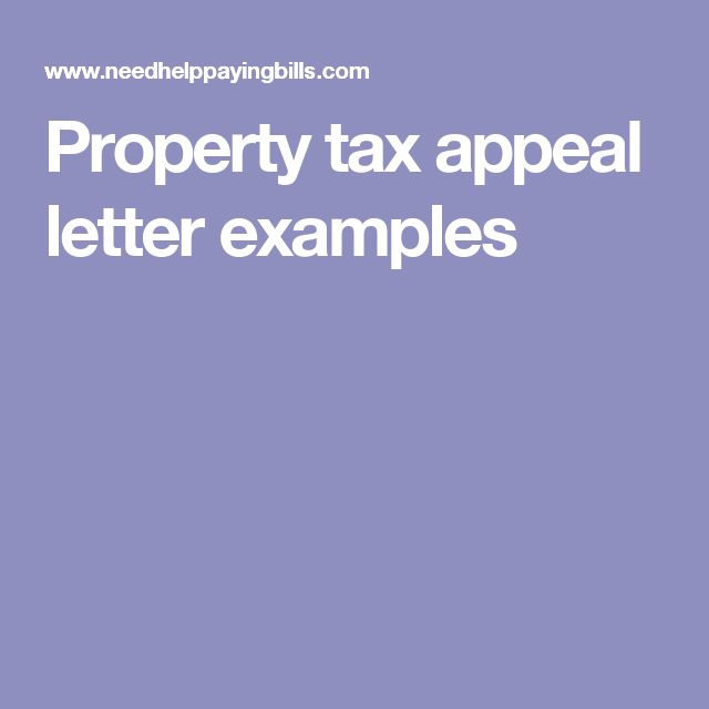 Property tax appeal letter examples
