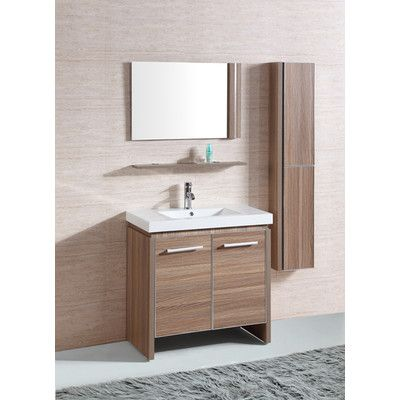 White Resin Single Sink Bathroom Vanity With Matching Mirror And Wall Cabinet