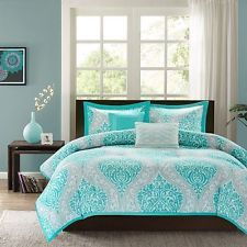 Cute Queen Comforter Set Full For Teen Girls 5pc Bedding Modern Aqua Blue Grey