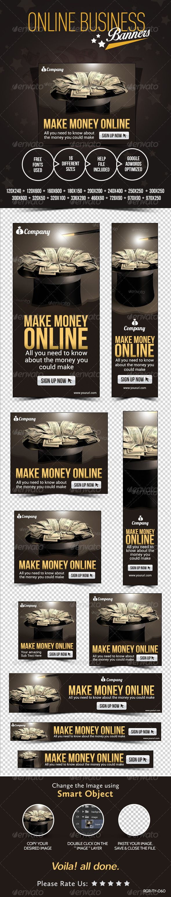 Make Money Online #Banners_Templates #PSD | Buy and Download: http://graphicriver.net/item/make-money-online-banners/8368071?WT.ac=category_thumb&WT.z_author=doto&ref=ksioks