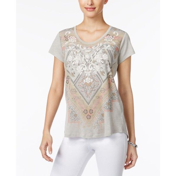 Style & Co Petite Embroidered Graphic T-Shirt, ($15) ❤ liked on Polyvore featuring tops, t-shirts, fog, graphic print t shirts, petite tee, graphic design t shirts, embroidered top and graphic print tees