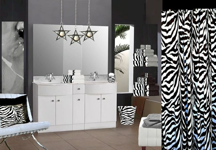 26 best images about zebra print shower curtain on pinterest for Zebra and red bathroom ideas