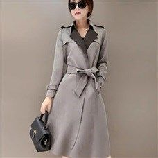 Autumn Deerskin Cashmere Women Long Slim Strap Suede Trench Coat