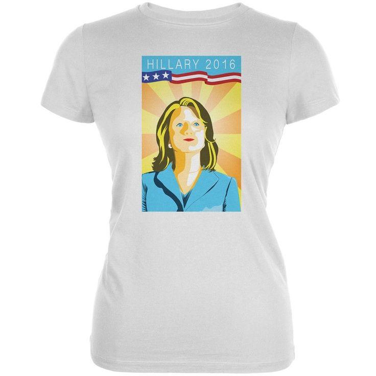 Election Hillary Clinton Poster White Juniors Soft T-Shirt