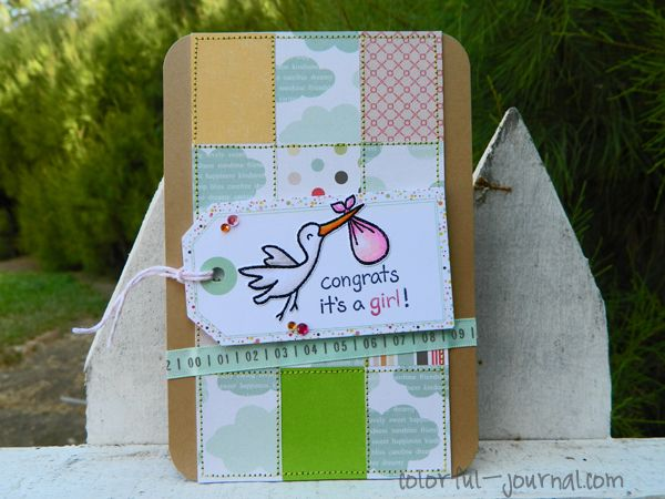 Congrats it's a girl - using @Lawn Fawn Plus One stamp set.