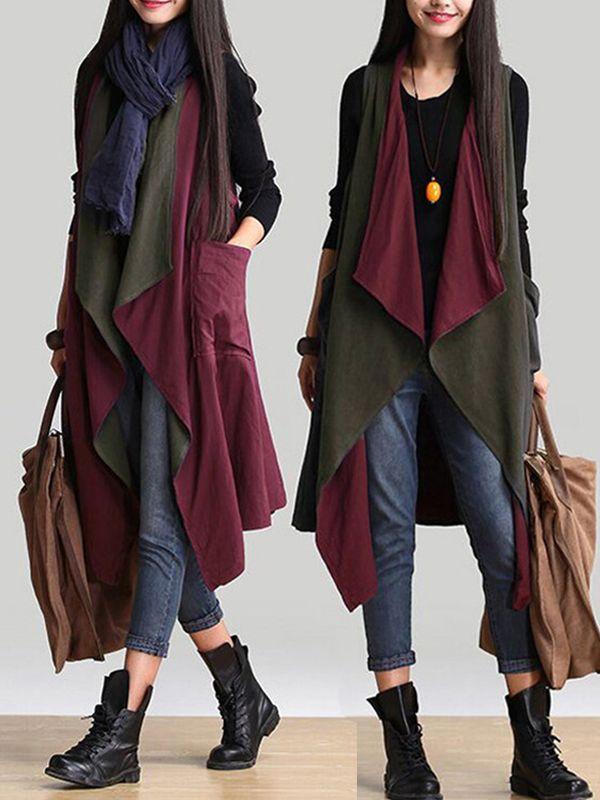 $23.95 Ethnic Women Autumn Sleeveless Reversible Long Vest Cardigan | women fall outfits|  Cardigan women| women  Cardigan| vest  Cardigan women| woman's  Cardigan| Autumn Cardigan| Fall  Cardigan| women fall  Cardigan|Sleeveless Cardigan|