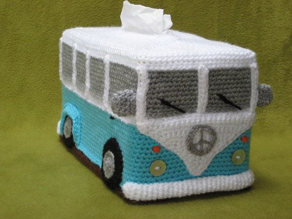 VW camper-van bus tissue box cover crochet pattern for sale.
