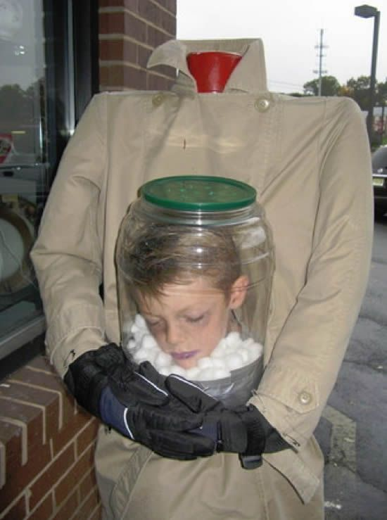 Best Halloween Costume Ever. Although I would cut WAY more air holes in that jar :)