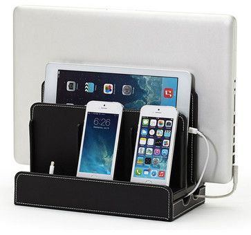 Faux Leather Multi-Charging Station, Black - transitional - Desk Accessories - Great Useful Stuff