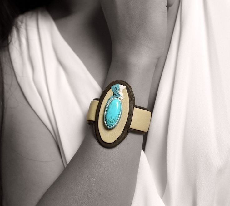 Adjustable bracelet from genuine calf leather with Turquoise Gemstone #jewellery #jewelry #bangle #SilkRoadEXPO http://silkroadexpo.com/