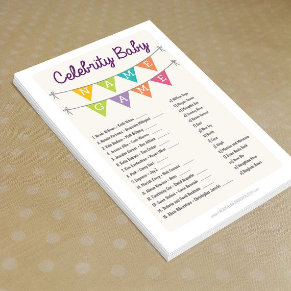 Instant Download  Baby Shower Celebrity by CreativeUnionDesign, $5.00